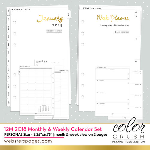 Websters Pages - Color Crush Collection - Personal Planner - Inserts - 12 Month - Week and Month Calendar - 2018