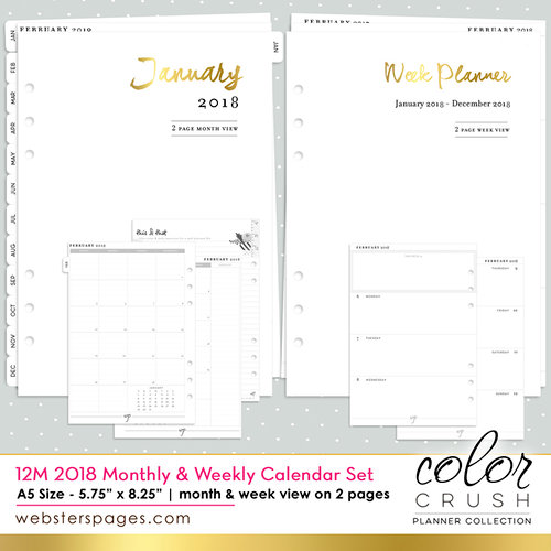 Websters Pages - Color Crush Collection - A5 Planner - Inserts - 12 Month - Week and Month Calendar - 2018