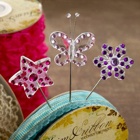 Websters Pages - Winter Fairy Tales Collection - Push Pins - Long Needle - Sparkle