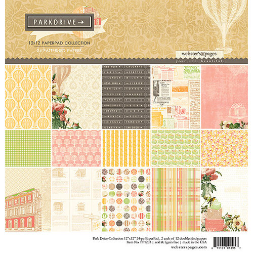 Websters Pages - Park Drive Collection - 12 x 12 Paper Pad Collection