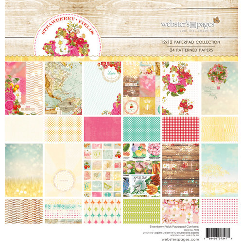 Websters Pages - Strawberry Fields Collection - 12 x 12 Paper Pad