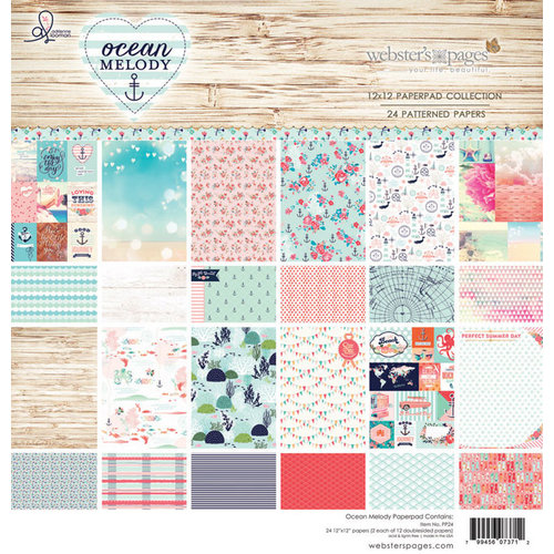 Websters Pages - Ocean Melody Collection - 12 x 12 Paper Pad