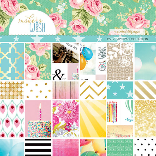 Websters Pages - Make a Wish Collection - 12 x 12 Paper Pad