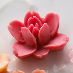 Websters Pages - Whimsies - Resin Embellishment Pieces - Lotus Flower Blooms - Rose