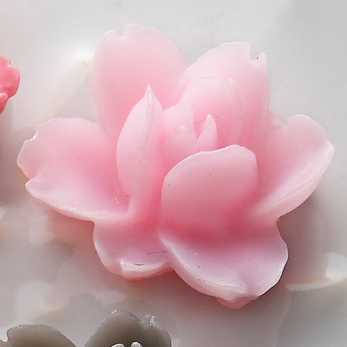 Websters Pages - Whimsies - Resin Embellishment Pieces - Lotus Flower Blooms - Pink