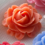 Websters Pages - Whimsies - Resin Embellishment Pieces - Roses in Bloom - Orange