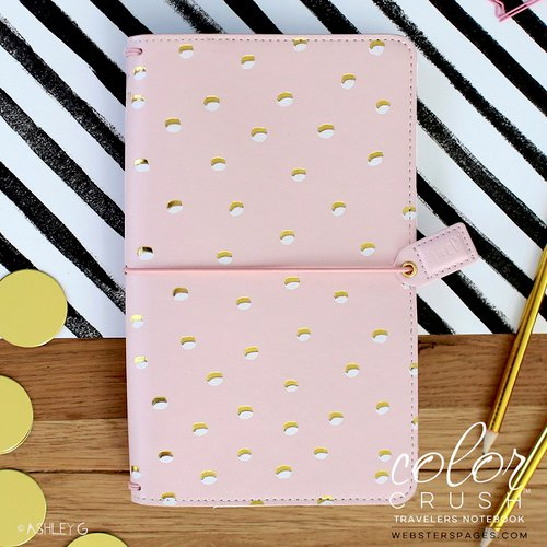 Websters Pages - Color Crush Collection - Travelers Planner - Blush and Gold Foil Dot