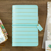 Websters Pages - Color Crush Collection - Traveler's Planner - Ice Blue with Gold Stripe