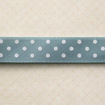 Websters Pages - Spring Market Collection - Designer Ribbon - Blue Polka - 25 Yards