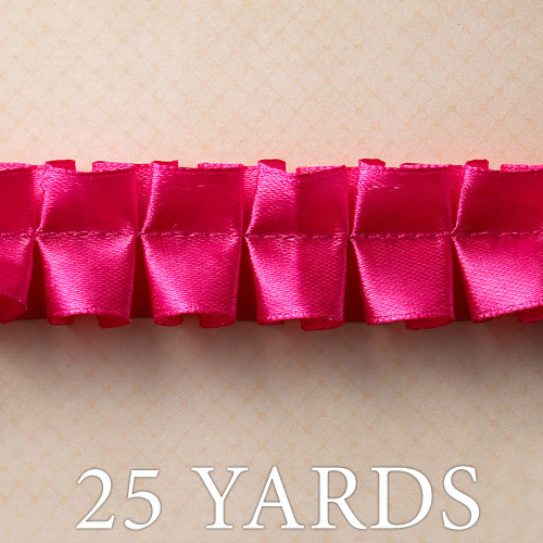 Websters Pages - Trendsetter Collection - Designer Ribbon - Kiss Pink Ruffle - 25 Yards