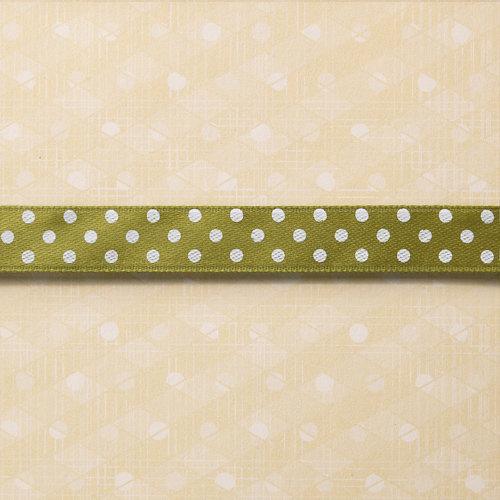 Websters Pages - Designer Ribbon - Green Polka - 25 Yards
