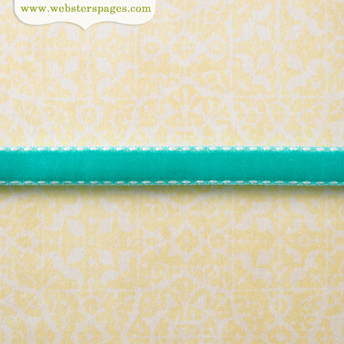 Websters Pages - Modern Romance Collection - Designer Ribbon - Blue Velvet Stitched - 25 Yards