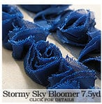 Websters Pages - Bloomers - Flower and Trim Ribbons - Stormy Sky - 7.5 Yards