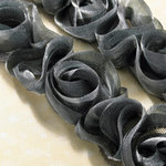 Websters Pages - Bloomers - Flower and Trim Ribbons - Shimmer Grey