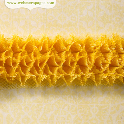 Websters Pages - Ruffled Bloomers - Flower and Trim Ribbons - Tangerine - 25 Yards