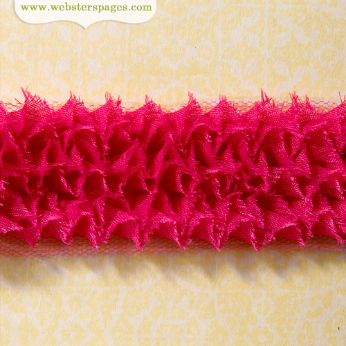 Websters Pages - Ruffled Bloomers - Flower and Trim Ribbons - Rose - 25 Yards