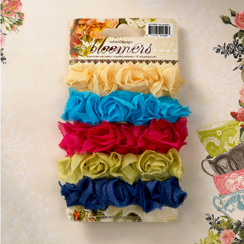 Websters Pages - Bloomers - Flower and Trim Ribbons - Assorted Three
