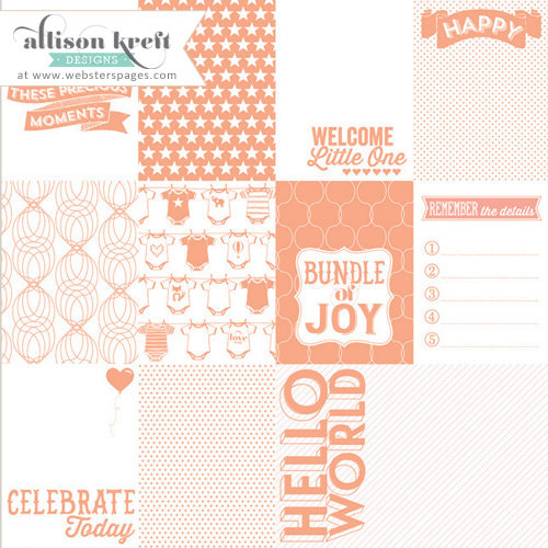 Websters Pages - Hello World Collection - 12 x 12 Transparency - Cards - Coral
