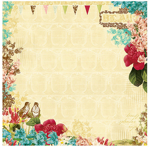 Websters Pages - Garden Gala Collection - 12 x 12 Designer Vellum - Garden