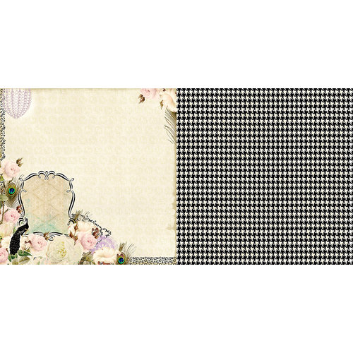 Websters Pages - Hollywood Vogue Collection - 12 x 12 Double Sided Paper - Feather Fashion