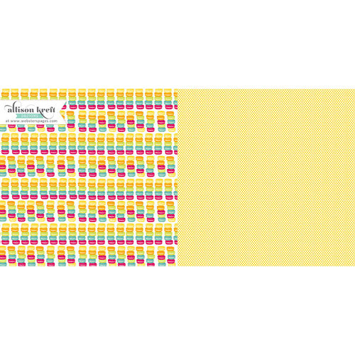Websters Pages - Sweet Notes Collection - 12 x 12 Double Sided Paper - Macarons