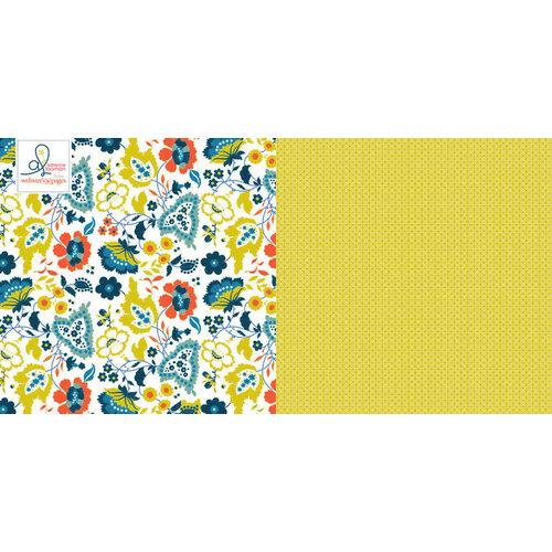 Websters Pages - Adrienne Looman - Citrus Squeeze Collection - 12 x 12 Double Sided Paper - Lemon Zest