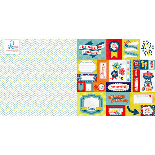 Websters Pages - Adrienne Looman - Citrus Squeeze Collection - 12 x 12 Double Sided Paper - Lazy Daze