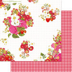 Websters Pages - Strawberry Fields Collection - 12 x 12 Double Sided Paper - Picking Berries