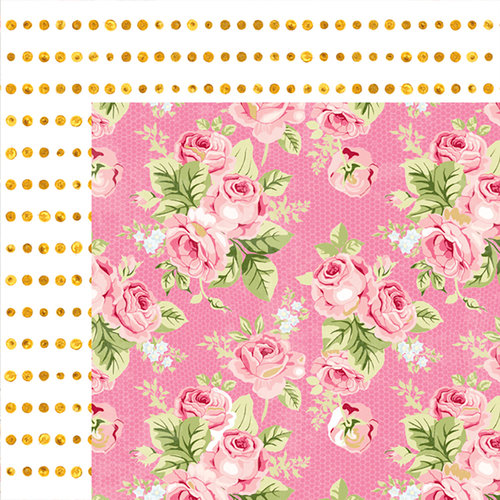 Websters Pages - Painted Passport Collection - 12 x 12 Double Sided Paper - Rose and Dots
