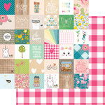 Websters Pages - My Happy Place Collection - 12 x 12 Double Sided Paper - Happy Squares