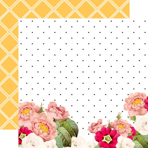 Websters Pages - Love is in the Air Collection - 12 x 12 Double Sided Paper - Caroline's Flowers