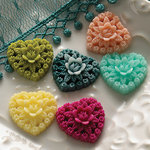 Websters Pages - Little Whimsies - Non Adhesive Embellishments - Resin Hearts, BRAND NEW