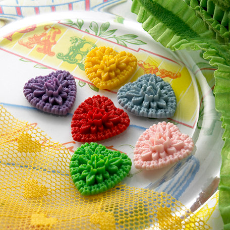 Websters Pages - Whimsies - Resin Embellishments Pieces - Hearts - Variety