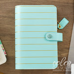 Websters Pages - Color Crush Collection - Personal Planner Binder - Ice Blue with Gold Stripe