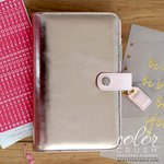 Websters Pages - Color Crush Collection - Personal Planner Binder - Platinum Rose