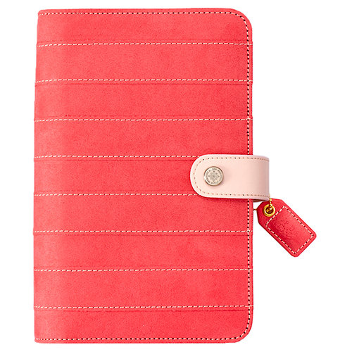 Websters Pages - Color Crush Collection - Personal Planner Binder - Pink Stitched Stripe - Binder Only