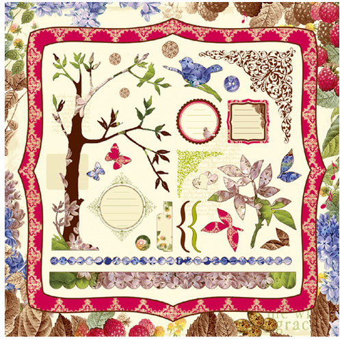 Websters Pages - A Sweet Life Collection - 12 x 12 Die Cut Cardstock Stickers