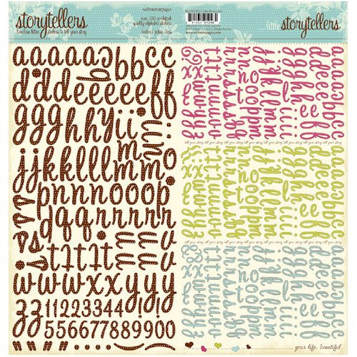 Websters Pages - Storytellers - 12 x 12 Alphabet Cardstock Stickers - Pokee Dots