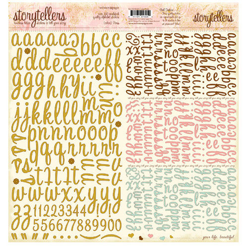 Websters Pages - Postcards from Paris Collection - Storytellers - 12 x 12 Alphabet Cardstock Stickers - Paris