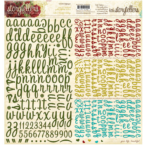Websters Pages - Home for the Holidays Collection - Christmas - Storytellers - 12 x 12 Alphabet Cardstock Stickers - Holiday