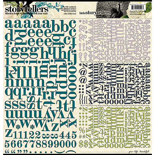 Websters Pages - Hollywood Vogue Collection - Storytellers - 12 x 12 Alphabet Cardstock Stickers - Hollywood