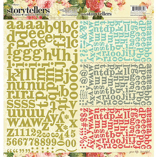 Websters Pages - Country Estate Collection - Storytellers - 12 x 12 Alphabet Cardstock Stickers