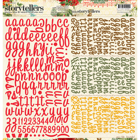 Websters Pages - A Botanical Christmas Collection - Storytellers - 12 x 12 Alphabet Cardstock Stickers