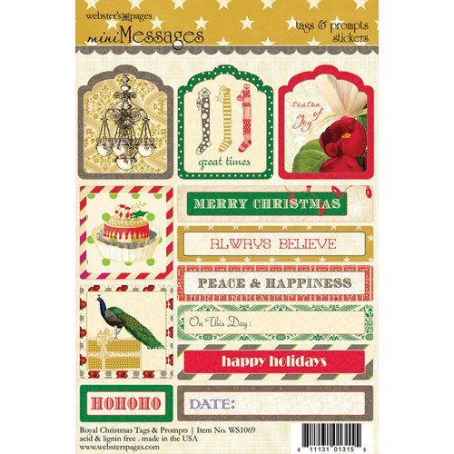 Websters Pages - Royal Christmas Collection - Cardstock Stickers - Mini Messages - Tags and Prompts
