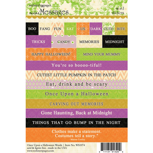 Websters Pages - Once Upon a Halloween Collection - Cardstock Stickers - Mini Messages - Words