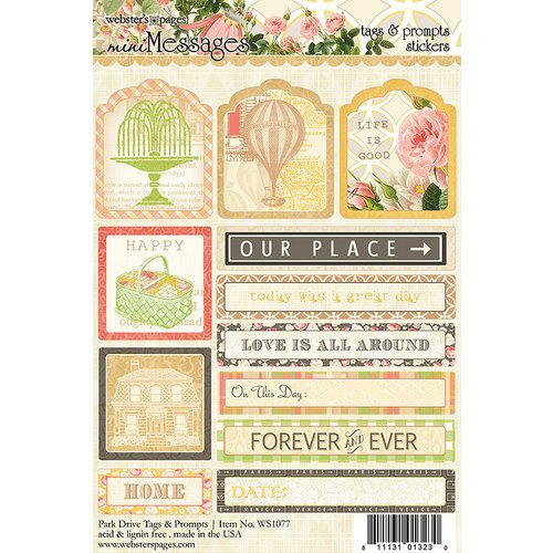 Websters Pages - Park Drive Collection - Cardstock Stickers - Mini Messages - Tags and Prompts