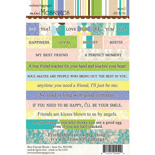 Websters Pages - Best Friends Collection - Cardstock Stickers - Mini Messages - Words