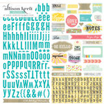 Websters Pages - Composition and Color Collection - 12 x 12 Cardstock Stickers - Alphabet and Tags