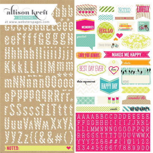Websters Pages - Sweet Notes Collection - 12 x 12 Cardstock Stickers - Alphabet and Tags