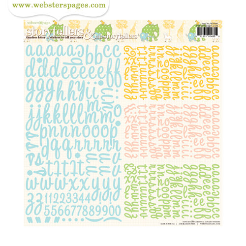 Websters Pages - New Beginnings Collection - Storytellers and Little Storytellers - 12 x 12 Alphabet Cardstock Stickers